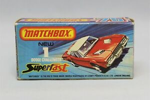 """Matchbox Lesney Superfast No1 DODGE CHALLENGER Empty """" J TYPE BOX """" with NEW """""""