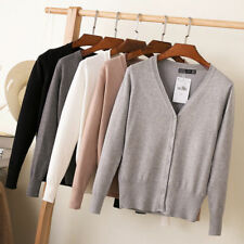 Womens Girls Cardigan Long Sleeve Ladies Knitted Top Outwear Plus Size 16 18 20
