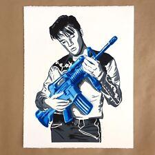 Mr Brainwash Don't Be Cruel Blue Hand Finished Signed Art Print Elvis Presley