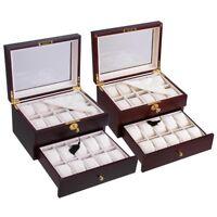 Cherry / Ebony Walnut Wood Watch Display Collector Jewelry Case Gift Storage Box