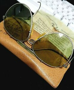 RARE VINTAGE WWII 1940's RAY-BAN SILVER AVIATOR SUNGLASSES - LEATHER CASE, CLOTH