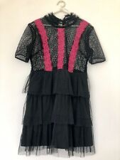 WHITE COVE PARTY DRESS/ SIZE PETITE 12/ BLACK GUPIERE LACE/ PINK TRIM/ FRILLS