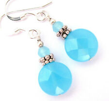 AQUA BLUE QUARTZ Earrings OCEAN SKY BLUE Dangle Drop STERLING SILVER 925