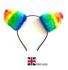 RAINBOW FAUX FUR EARS Headband Animal Pony Cat Ears Pride LGBT Fancy Dress UK