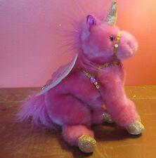 "Aurora 12"" Sky Dancers Unicorn Pegasus Plush Pink Catapillers Sharon Lea Larson"