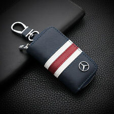 Tricolor Stripe leather Car Key Holder Keychain Ring Case Bag  For Mercedes-Benz