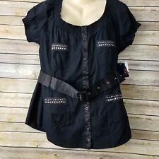Dereon Women's Peasant Blouse Sz 1X Black Rhinestones Belted Cap Sleeves NWT