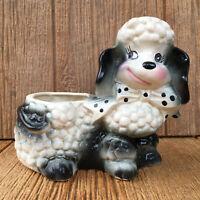 Vintage Mid-Century Black & White Pottery USA Poodle Planter Polka Dot Bow Tie