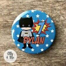 Personalised ANY Name/Age Cute Superhero/Marvel Birthday Badge Party Boy/Girl