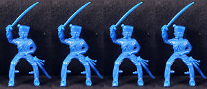 Timpo Recast 4 Mounted Napoleonic French Chasseurs - 54mm unpainted plastic
