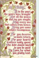 1912 Arts & Crafts Birthday poem saying postcard 4240