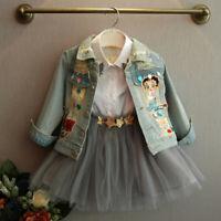 Toddler Baby Girls Kids Cardigan Cartoon Long Sleeve Jacket Denim Coat Outerwear