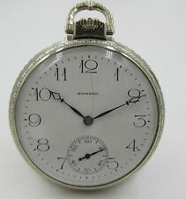E. Howard pocket watch 17 Jewels White Gold Filled Pocket Watch running
