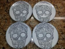 222 Fifth x4 Halloween Skull Lace Salad Plate Set Day of the Dead Party Decor