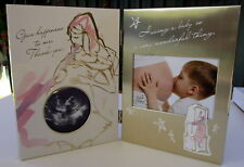 "BABY'S KEEPSAKE ""HAVING A BABY..."" ULTRASOUND SCAN FRAME & PINK/GOLD PHOTO FRAME"