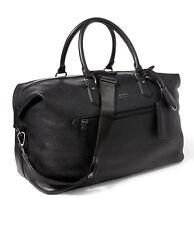 Ralph Lauren Leather Duffel Weekend Bag Holdall Pebble Black Travel Gym £515