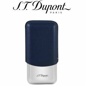 S.T. Dupont Leather & Metal Adjustable Cigar Case For 3 Cigars 183023 New In Box