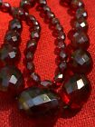 Vintage RARE Art Deco Cherry Amber Bakelite Faceted Bead Graduated Necklace