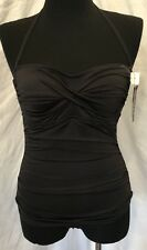 Womens Jantzen 1 Piece Swim Suit Size 8 NWT Solid Black