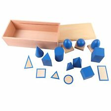 Montessori Material Geometric Solids with Stand Bases and Box