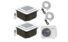 Klimaire 2-Zone 18000 BTU 12Kx2 Ceiling Cassette 21 Seer AC Mini Split Heat Pump