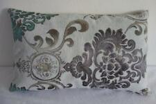 Teal Grey Taupe Jacquard Damask Acanthus Rectangle Cushion Cover 30x50cm