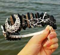 Women Retro Crystal Black Quartz Queen Moon Twig Hair Head Headband Crown Tiara