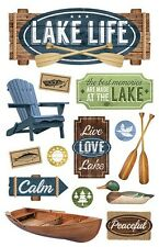 Lake Life Canoe Adirondack Chair Duck Fishing Paper House 3D Sticker