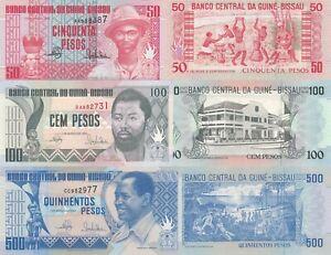 Guinea-Bissau 3 Note Set: 50, 100 & 500 Francs (1.3.1990) p10, p11 & p12 UNC