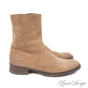 #1 MENWEAR Buttero Made in Italy Taupe Stone Suede Side Zip Boots Shoes 42 NR