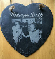 For FATHERS day GIFT Personalised photo laser engraved onto slate custom HEART