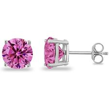 2 ct. Pink Tourmaline Round Basket Stud Earrings in Solid Sterling Silver-