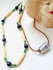 """NECKLACES~2~SILVER BARREL METAL LEATHER~GREEN BONE & BROWN BEADED, APPROX 17"""""""