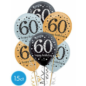 60th Birthday Sparkling Celebration Latex Balloons Party Supplies Decorations