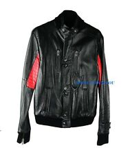 SURFACE TO AIR KID CUDI LAMB NAPPA BLACK & RED LEATHER CHAMPS JACKET NEW sz S