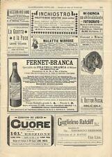Stampa antica pubblicità FERNET BRANCA e altro 1894 Antique print