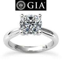 Solitaire 2.00 Carat GIA Round Cut Diamond Engagement Ring White Gold VS2 I
