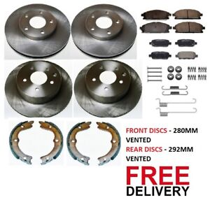 FOR NISSAN X TRAIL 01-06) FRONT AND REAR BRAKE DISCS & PADS SHOES & FITTING KIT