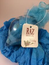 Vintage Raz Imports Ornament Blown Glass~Blue Polka Dots Blue Fur~