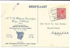 Treinblokstempel Leeuwarden - Meppel A Geïllustreerde bedrijfsbrkrt naar België