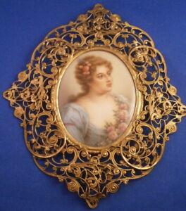Antique 19thC Hutschenreuther Porcelain Young Lady Portrait Plaque Porzellan