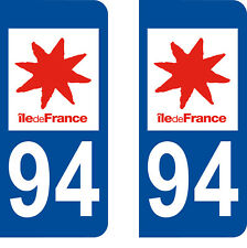 Département 94 sticker 2 autocollants style immatriculation AUTO PLAQUE
