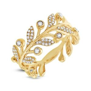 14K or Jaune Diamant Bague Feuille Femmes Rond Coupe Fantaisie Bande 0.24 Carats