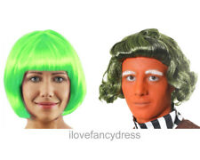 CHOCOLATE FACTORY WORKER GREEN WIG BOOK CHARACTER FANCY DRESS COSTUME ACCESSORY
