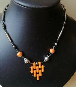 Vintage jewellery art deco orange necklace.