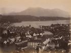 Suisse Lucerne Panorama de la ville et le Mont-Righi au loin Vintage albumen pr