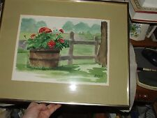 Country WATERCOLOR by M. St. Martin Geranium Wooden Bucket Fence Pasture