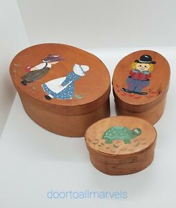 Set of 3 Shaker Nesting Boxes Painted Wood Oval Hand Made Signed '99