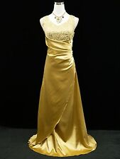 Cherlone Gold Satin Sparkly Long Prom Gown Wedding Bridesmaid Evening Dress 14