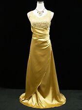 Cherlone Gold Satin Sparkly Long Prom Gown Wedding Bridesmaid Evening Dress 8